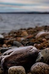 Frosty rock by the lake (Petri_S) Tags: november finland lake bokeh nikon macrolens