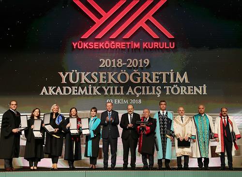 ANKARA, TURKEY - OCTOBER 3 : Turkish President Recep Tayyip Erdogan (6th L) attends the opening ceremony of academic year of Higher Education at Bestepe National Congress and Culture Center in Ankara, Turkey on October 3, 2018..  ( Kayhan Özer - Anadolu A