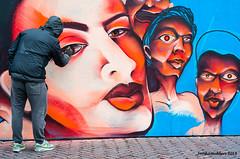 Streetart (Streetphotography by Joost Smulders) Tags: streetphotography straatfotografie candid urban stad city utrecht holland nederland oudegracht streetart artist straatkunst muurschildering painting schilderen mensen people man kleur color colour portret portrait