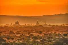 Bagan sunset (ValterB) Tags: valterb valter view nikond90 nikon nikkor shadow sky scenic sun sunset surreal sunlight exposure extreme buildings building bright beautiful bagan myanmar burma built travel tree trip trees orange red yellow landscape light architecture art fog mist mountain dusk clouds