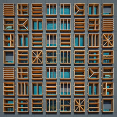 Morphology (Paul Brouns) Tags: amsterdam architecture architectuur architektur paulbrouns paulbrounscom paul brouns urban tapestry tapestries abstract language relief signs wooden frames variations hiéroglyphes tablet morphology square windows structure structural facade art photographic