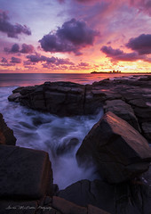 **Fiery Skies** (damian.mccudden.photography) Tags: landscapes nature seascapes fineart australia qld sunshinecoast canon tokina sun light red pink sky moody clouds rocks water beach ocean reflections damianmccuddenphotography spring morning sunrise cold early