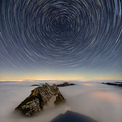 Kleiner Mythen star trails and sea of fog (lukas schlagenhauf) Tags: grossermythen kleinermythen seaoffog brunni switzerland myswitzerland swiss schweiz suisse mountains alps night nightscape landscape creativcommons autumn fall stars startrails clouds europe canoneos6d canon mythenregion lukasschlagenhauf