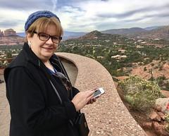 20181114 Mary texting while at the Chapel of the Holy Cross. (lamarstyle) Tags: lamarstyle 2018 iphone6s sedonaarizona chapeloftheholycross