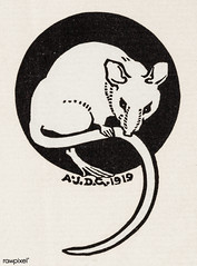 Mouse (1919) by Julie de Graag (1877-1924). Original from the Rijks Museum. Digitally enhanced by rawpixel. (Free Public Domain Illustrations by rawpixel) Tags: animal antique art artwork black drawing handdrawn illustrated illustration illustrator juliedegraag mouse old pdrijks publicdomain rijksmuseum sketch vintage white woodcut
