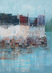Misty Harbour (jeanetteclarke27) Tags: windows harbours harbourwalls rooftops lineandwash acrylic westcountryharbours mixedmedia harbourpaintings