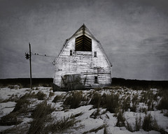 Winters come and winters go. (bigtownhicks) Tags: barn old farm rural winter snow wood painterly textured minnesota backroads farmland midwest countryside field grass prairie birds landscape bigtownhicks barbaragrether