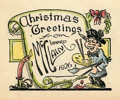 Christmas Greetings from Howard McClain, 1926 (Alan Mays) Tags: ephemera greetingcards greetings cards christmascards paper printed christmas xmas december25 christmasgreetings holidays mcclain howardmcclain painters artists artistsigned clothes clothing smocks hats berets ties bowties paintbrushes palettes paintings wreaths holly bows candles flames burning scrolls banners caricatures humor humorous funny illustrations borders green yellow red 1926 1920s antique old vintage typefaces type typography fonts