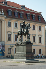Statue of Carl August, Weimar (stephengg) Tags: germany thuringia weimar fürstenhaus hochschule für musik franz liszt university music school statue carl august horse palace red tile roof yellow wall
