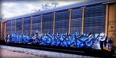 (timetomakethepasta) Tags: dark freight train graffiti art e2e ns autorack norfolk southern grim reaper