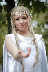 Galadriel cosplayer at ExCeL London's MCM Comic Con, October 2018 (Gordon.A) Tags: london docklands excel excellondonexhibitioncentre mcm moviecomicmedia comiccon con convention mcm2018 october 2018 creative costume style culture galadriel lordoftherings character cosplay cosplayer cosplayphotography festival event eventphotography pretty lady woman face people model pose posed posing outdoor outdoors outside tree trees depthoffield dof day daylight naturallight portrait portraitphotography digital canon eos 750d sigma sigma50100mmf18dc