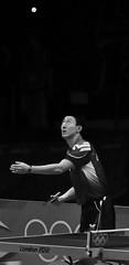 Oh Sang Eun serves (johnlauper) Tags: tabletennis london2012 olympics sport monochrome blackandwhite ohsangeun