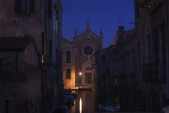 Venetian paths 128(Madonna dell'Orto) (Maurizio Fecchio) Tags: venice venezia italy morning lights cityscape city reflections church water canal boats travel longexposure nopeople tranquility architecture nikon d7100