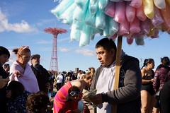 Cotton Candy (dtanist) Tags: contax zeiss carlzeiss carl planar brooklyn nyc newyork newyorkcity new york city sony a7 polar bear plunge year 2019 cotton candy seller selling vendor sweets parachute jump tower sand beach sea