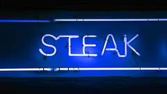 Blue neon sign in the night 'STEAK' (DigiPub) Tags: ネオン 大井町 ステーキ oimachi promoting 料理 steak blue neon 1063729254 istock