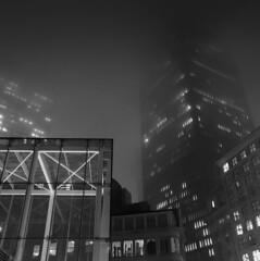 Light and Lines Through the Fog (iMatthew) Tags: fog foggy bw blackandwhite monochrome iphoneography moody mist misty governmentcenter boston mbta subwaystation night