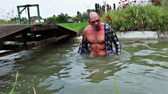 portrait (marcostetter) Tags: wetlook wet wetclothes wetclothing fullyclothed wateraction landscape nature topless hairychest fashion vogue wetshirt hiking waterhiking travel masculine manly