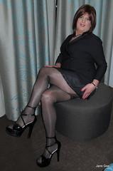 I love glossy hosiery (janegeetgirl2) Tags: transvestite crossdresser crossdressing tgirl tv ts trans black tuxedo dress manchester high heels legs gloss tights shine shiny