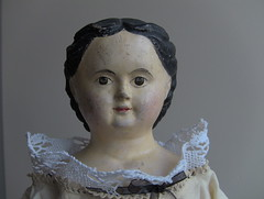 PEACHAM_Kate & Sarah Harriman's doll. Born 1860 & 1863 in Peacham. Kate sold the doll in 1937, the year Sarah died. Parents & husbands were farmers. Kate - librarian. Sarah - teacher. Their brother fought in the civil war, at the age of fifteen. (leaf whispers) Tags: kateharriman peacham antique doll papiermâché papermache mssuperior browneyes greiner forsale buy alloriginal müllerstrassburger americana folkart shoulderhead germany woman girl lady primitive provenance turrellharriman dollwithprovenance turrellelkinsharriman katehutchinson browneyed