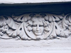 Lady Gargoyle Face on Building Facade 4778 (Brechtbug) Tags: lady gargoyle face building facade 25th street between 7th 8th avenues nyc 11122018 new york city midtown manhattan 2018 gargoyles portraits monster portrait monsters creature faces spooky art architecture sculpture keystone mask brownstone brown stone