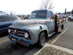 Fine '55 F-250 (twm1340) Tags: 1955 ford f250 truck flatbed utility walmart parking lot classic