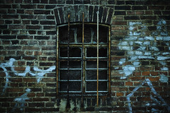 Windows... (hobbit68) Tags: fujifilm xt2 fenster frankfurt fechenheim graffiti mauer wall old alt ziegel ziegelstein lost places gitter windows industry industriegebiet industrie in