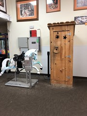 """Coin Operated """"Kiddie Ride"""" Mechanical Carousel horse (King Kong 911) Tags: outhouse toilet flee market horse coin operated kiddieride mechanical carousel saddle"""