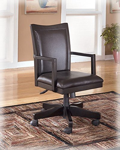 Ashley Furniture Signature Design – Carlyle Home Office Desk Chair – Faux Leather Swivel Chair – Almost Black For Sale