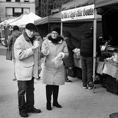Cider and Donuts in Union Square Park (FourteenSixty) Tags: newyork nyc unionsquarepark unionsquare blackwhitephotos blackandwhite blackwhite monochrome manhattan candid people farmersmarket
