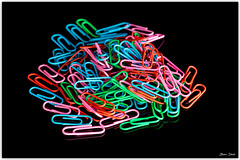 Coloured Paper clips (Bear Dale) Tags: ulladulla southcoast new south wales shoalhaven australia beardale lakeconjola fotoworx milton nsw nikond850 photography framed nikon d850 nikkor afs micro 105mm f28g ifed vr colour color colourful colorful pattern patterns macro closeup coloured paper clips black reflection repeating