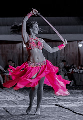 The Belly Dancer - 01 (tsoeiro) Tags: ifttt 500px dancing dancer dance exercise hands up sword desaturated pink focus color dubai belly movement blur night black white bw folk
