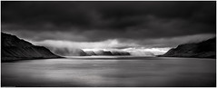 Arnarfjörður V (niggyl (getting there)) Tags: autumnlight sundown lateafternoon westfjörds westfjords westfjörðs vestfirðir iceland inspiredbyiceland island breathtakinglandscapes landscape sheppy fjörd therebeastormabrewin storm stormclouds cloudsstormssunsetssunrises route60 ísland evening panorama monochrome monochromatic silverefexpro2 blackandwhite blackandwhiteseascape mountain mountains fujifilm fujifilmxt2 fujixt2 xt2 fujinon vestfjarðavegur arnarfjörður bíldudalur fujinonxf2314r fujixf2314r xf2314 thefogandtherain longexposure ndfilter breakthroughphotographyx410stopndfilter nikcollection