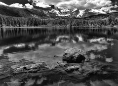 Sprague Lake Reflections (HarrySchue) Tags: rockymountains rockymtnationalpark nationalparks landscape mountains blackwhite monchrome nature reflections iphone hiking estesparkco colorado serene snowcappedpeaks snowcoveredpeaks trees lake spraguelake