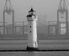 New Brighton Lighthouse - B&W (Gilli8888) Tags: nikon p900 coolpix blackandwhite monochrome newbrighton merseyside wallasey docks liverpooldocks seaforthdocks cranes mersey rivermersey newbrightonlighthouse lighthouse coast coastal