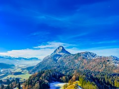 Pendling mountain and river Inn valley seen from Thierberg chapel in Tyrol, Austria (UweBKK (α 77 on )) Tags: österreich austria europe europa tyrol tirol iphone river inn valley pendling mountain thierberg chapel sky blue clouds kufstein forest tree hill