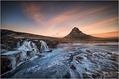FROZEN FALLS, ICELAND (vieribottazzini) Tags: iceland islanda kirkjufellsfoss sunset tramonto waterfall frozen fineart leica leicam10 m10 formatthitech firecrest ice mountain drama cloud clouds beauty
