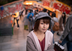 Young woman walking in market stall (Apricot Cafe) Tags: ap2a3240 asia beautifulpeople japan japaneseethnicity kyotocity kyotoprefecture millennialgeneration sigma35mmf14dghsmart autumn beret charming coat coatgarment colorimage elegance enjoyment gion leisureactivity lifestyles lookingatcamera marketstall oneperson oneyoungwomanonly people photography relaxation serenepeople shorthair sunset tourism tourist travel waistup walking women youngadult
