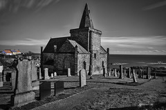 Heavenly East Nuek-0055 (ronniefleming@btinternet.com) Tags: eastnuek visitscotland historicscotland bw blackandwhite architectural graveyard seaside scottishlandscapes ph31fy ronniefleming colourpop church steeple