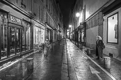 B&W-2 (albyn.davis) Tags: blackandwhite paris france europe people street rain wet night light streetlamp travel perspective city urban