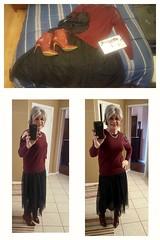 Wednesday outfit (krislagreen) Tags: cd crossdress tv tg tgirl transgender transvestite skirt tulle coldshouldertop femme feminzation feminiized booties patent burgandy black