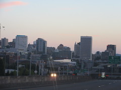 Tacoma, Washington early morning (Prairie Star) Tags: dawn downtown road highway skyline highrise morning twilight city pacificnorthwest washingtonstate usa unitedstates building buildings washington westernstates summer roadtrip roadsign highwaysign sign interstate705 i705 interstate 705 i5 interstate5 freeway urban tacoma