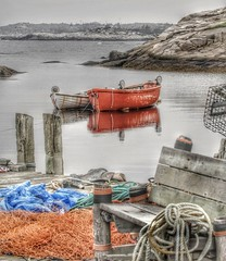 fishing, over for the day (Bluescruiser1949) Tags: scenic fishing red two net bench boats oars novascotia scotia peggys cove rope