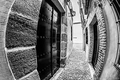 Fisheye narrow street (Javier Palacios Prieto) Tags: narrow fisheye street door old ston