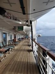 Day at Sea -- Caribbean Cruise Vacation, Day 7, Holland America's Veendam, Deck 5 Promenade (Mary Warren 12.9+ Million Views) Tags: carribeansea cruise hollandamerica veendam ship deck promenade lifeboats chairs wood sea sky
