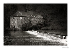 The Old Mill House (Seven_Wishes) Tags: durham countydurham canoneos5dmarkiv canonef70200mmf4lisii outdoor photoborder river riverwear wear water building millhouse bw blackandwhite mono monochrome woodland tree 2019