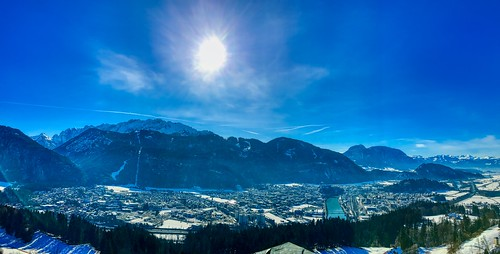 Panoramic view of Kufstein in the river Inn valley with the Alps from Thierberg, Tyrol, Austria