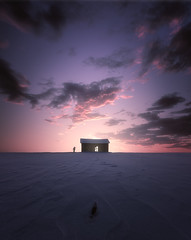 Student (petrisalonen) Tags: snow winter ice frozen landscape sunset sunrise clouds light colors red yellow orange man magenta sunlight sky finland suomi nature luonto maisema blue night white barn horizon sun