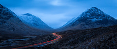 S Curve. U Valley. (Duncan Herring) Tags: altnafeadh duncanherringphotography ushapedvalley highlands snowcapped mountains nightphotography longexposure snow a82 bluehour moor lighttrials scurve cars mountainpeak scotland buachailleetivemor road
