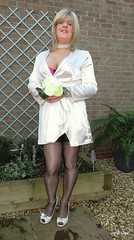 1000th Picture....... I Do. Would you? (janegeetgirl2) Tags: transvestite crossdresser crossdressing tgirl tv ts trans jane gee wedding dress ivory full fashioned black stockings red seams seamed v suspenders heels posy bouquet