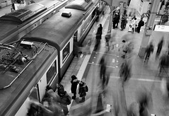 Afterimage (reiko_robinami) Tags: streetphotography station platform monochrome urban blackandwhite train tokyo japan